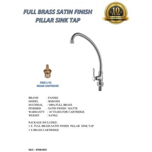 Full Brass Satin Finish Pillar Sink Tap Free 1 Pc Brass Cartridge