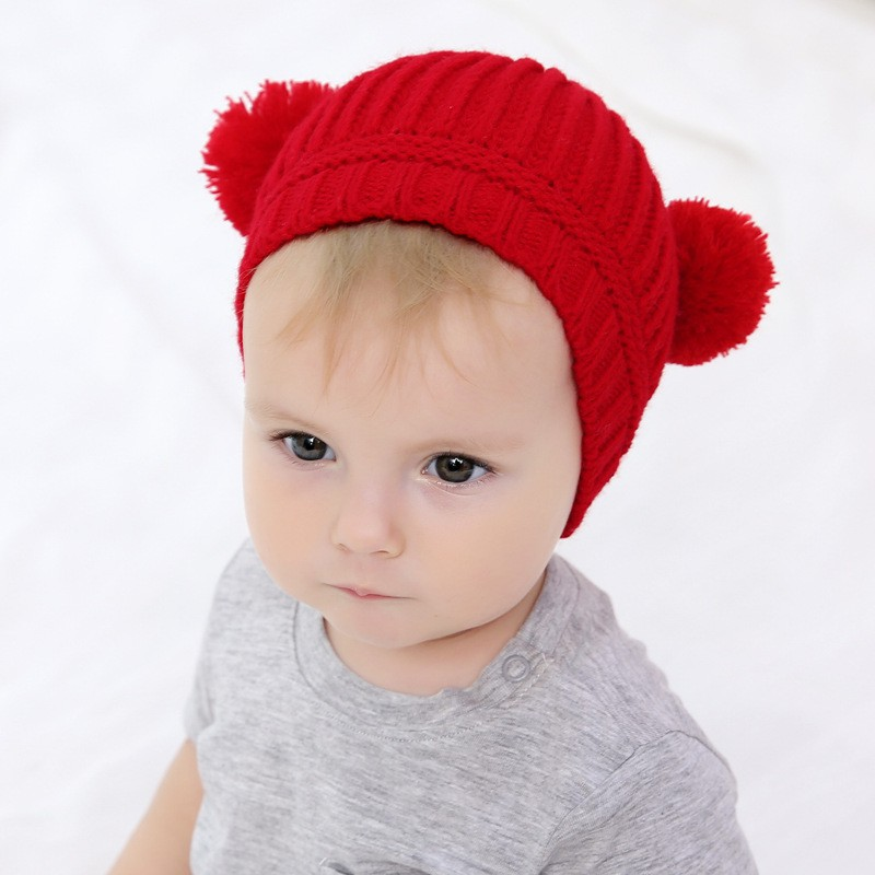d6533a517 Large eyes wool cap horns knit hat