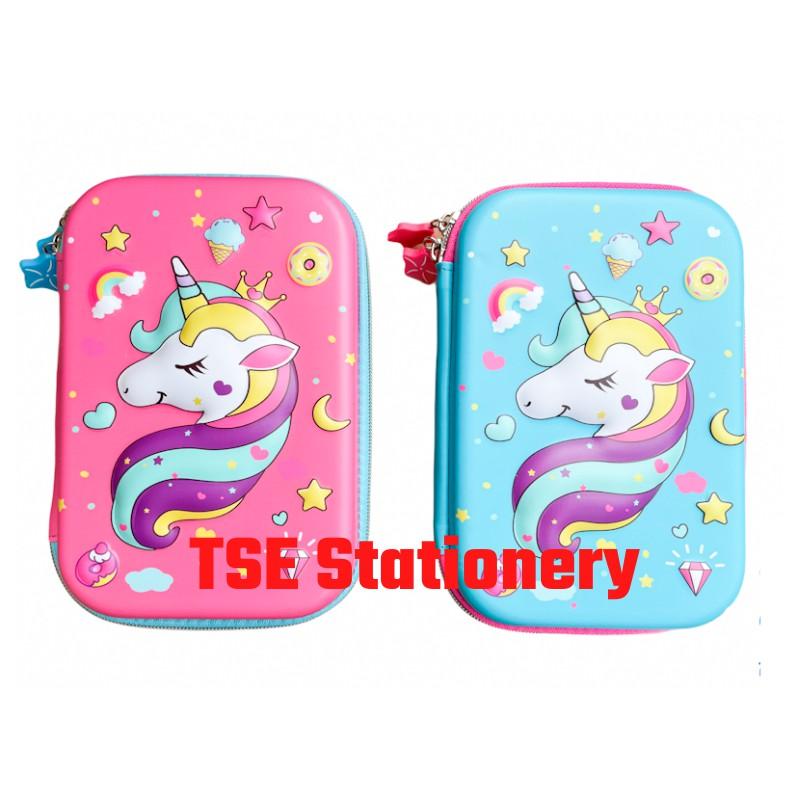 Unicorn 8832 Pony Pencil Case Unicorn 3D Large Hardtop Student School Use Kotak Pencil Pink Pencil Box