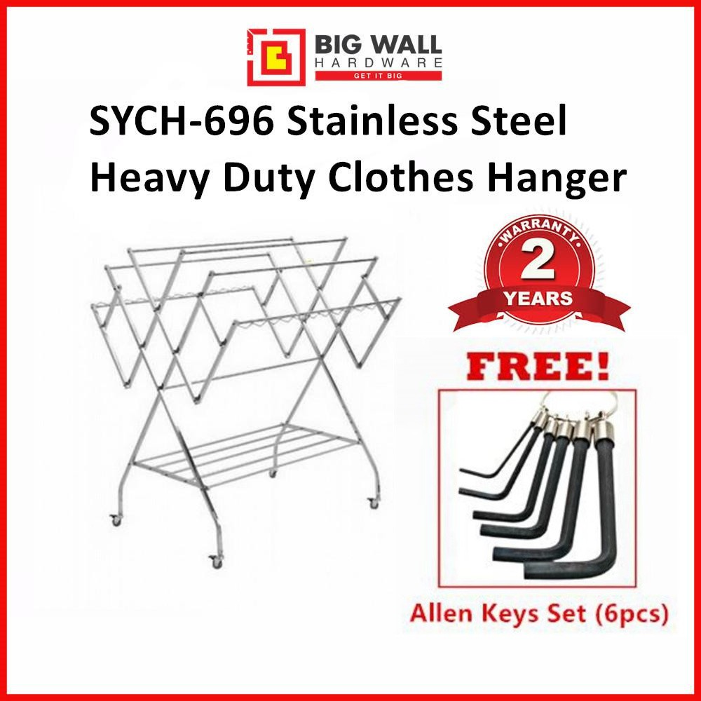 Stainless Steel Heavy Duty Clothes Hanger SYCH-696 (SUS 201) Penyidai Pakaian Free 1 Set of Allen Keys (6pcs) 晒衣架