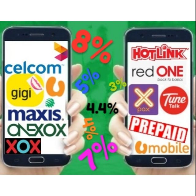 Top up Celcom maxis Redone Tunetalk Umobile Gigi Onexox Reload