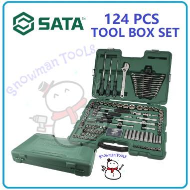 TOOL BOX SET 124 PCS SATA BRAND 09014 KOTAK TOOLS SOCKET POZIDRIV TORX HEX SPINNER HANDLE WOBBLE EXTENSION BAR EXTRACTOR