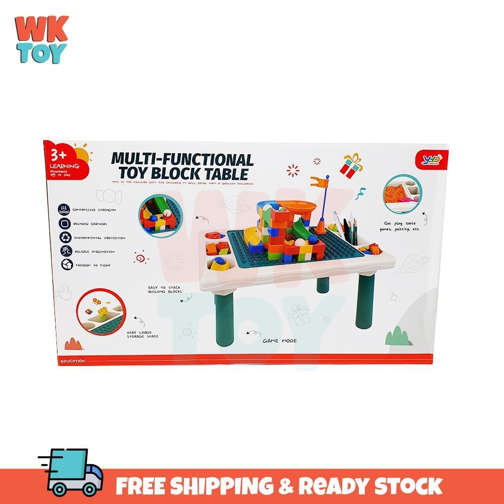 WKTOY Multi-Function Table Blocks Learning Playing Study Table Kids Desk Meja Belajar Budak 积木桌子