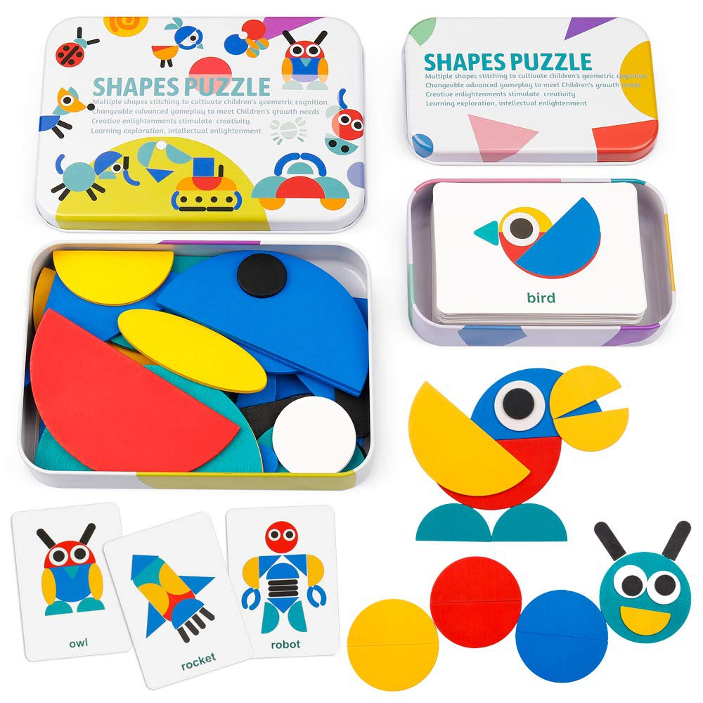 6 Pack Animal Shape Color Montessori Toy Coogam Wooden Jigsaw Puzzle Set Fine Motor Skill Early Learning Preschool Educational Gift game for 2 3 4 5 Years Old Kid Toddler