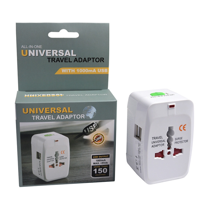 Universal Travel Adaptor 2 USB Port International Worldwide Charger Plug Socket Charging Converter 2pin 3pin
