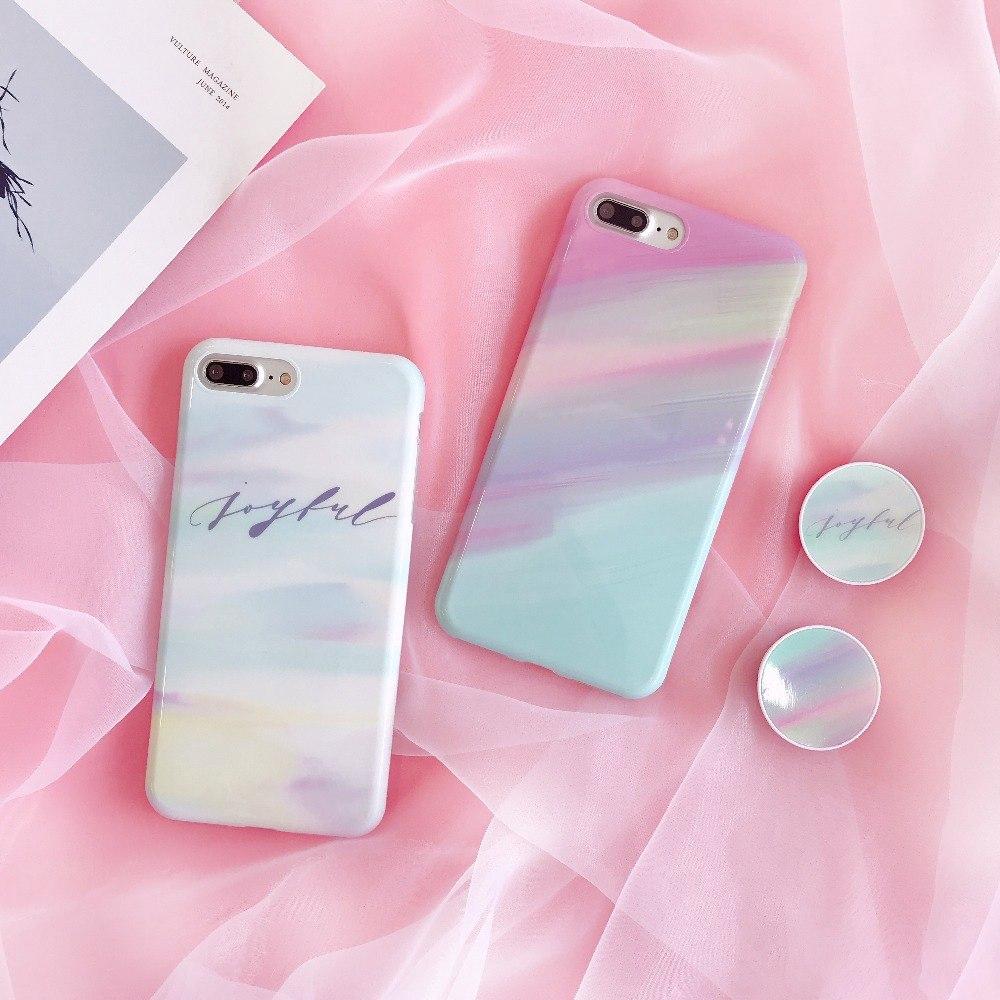new product 7b198 28fe3 Korean Gradient Rainbow Print Soft IMD Case for IPhone 6 6s 7 8 Plus Case
