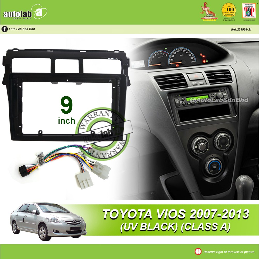 """Android Player Casing 9"""" Toyota Vios 2007-2013 (UV Black) (Class A) with Toyota 3 Head Socket"""