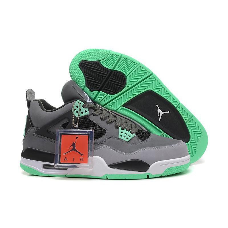 new concept 20f07 b5a03 Air Jordan 4 (IV) Retro Dark Grey Green Glow-Cement Grey-Black ...