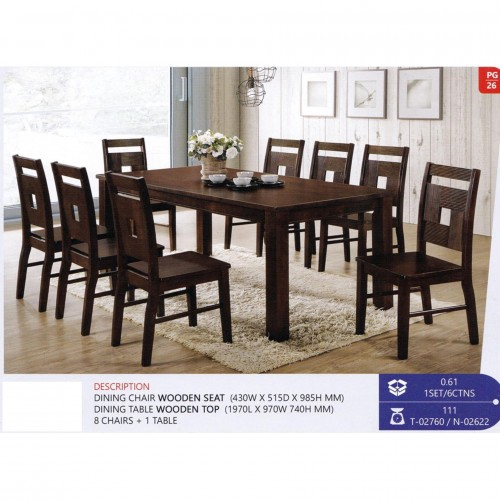 Fully Solid Wood 1 8 Dining Table Chair Set Walnut Colour Shopee Malaysia