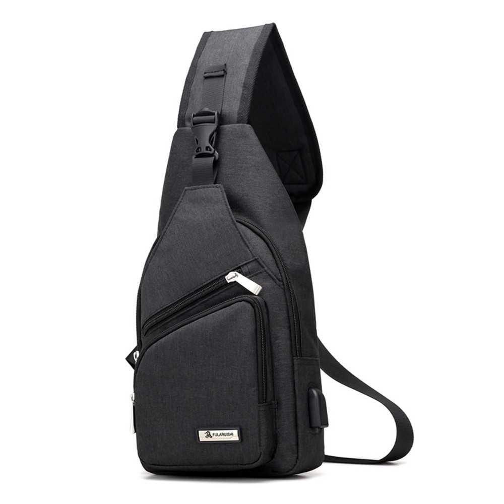 11f1e21e34c0 USB Charging Bag Sling Bag Pack Shoulder Chest Cross Body Backpack (black)