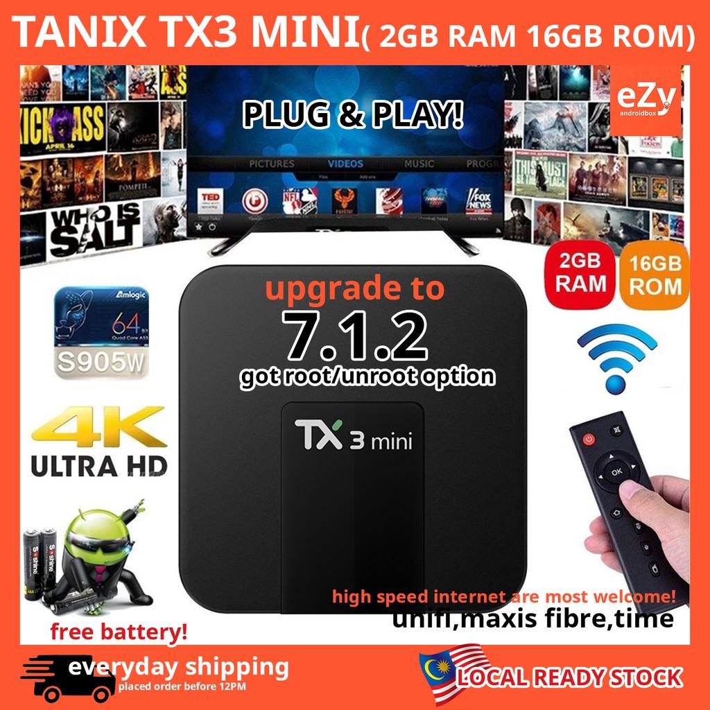 TANIX TX3 MINI 2G/16G Android 7 1 KODI S905W TV Box WIFI LAN