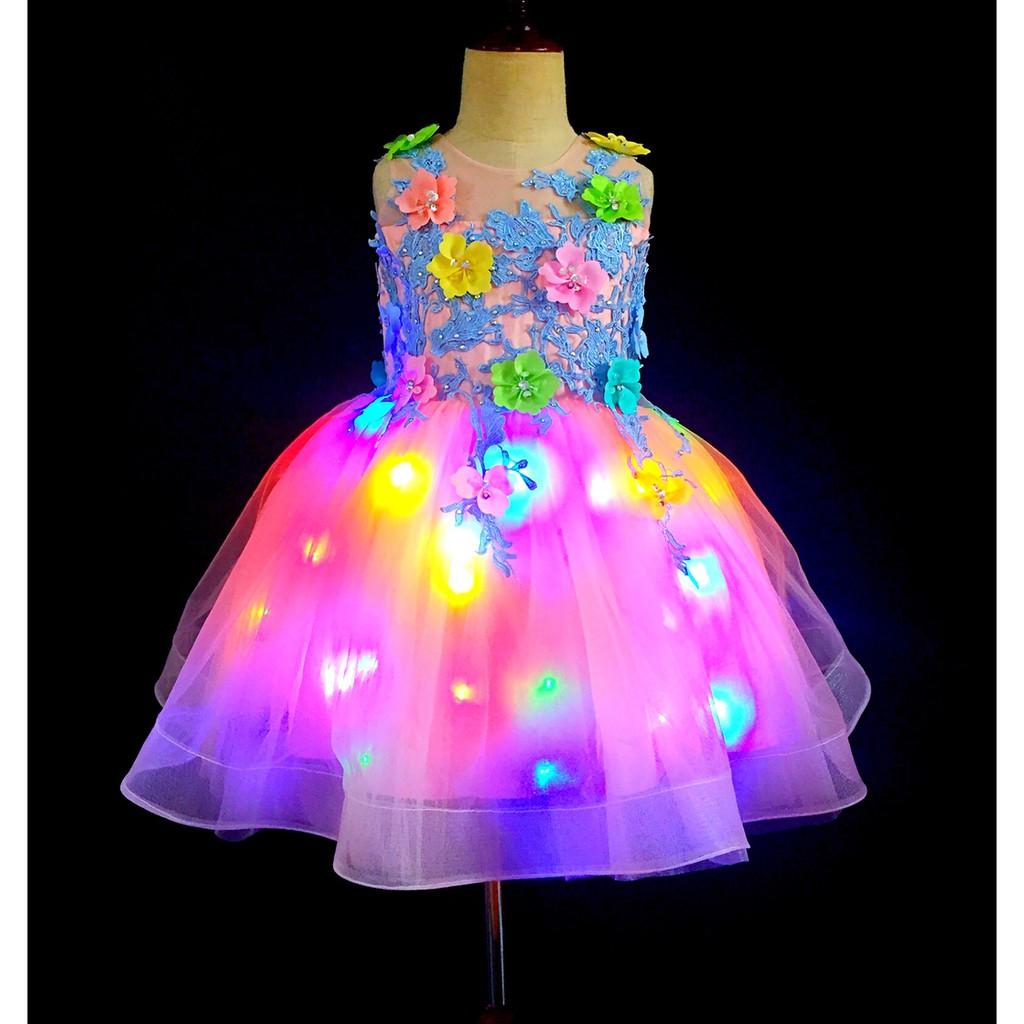 Led Light Up Kids Wedding Party Dresses