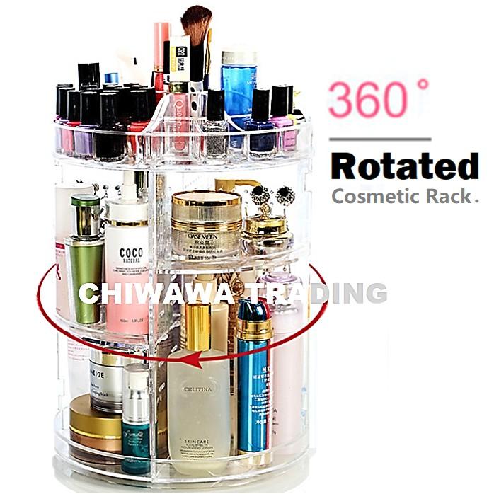 3 Layers Rotative Cosmetic & Jewellery Organizer Storage Makeup Box Display Rack