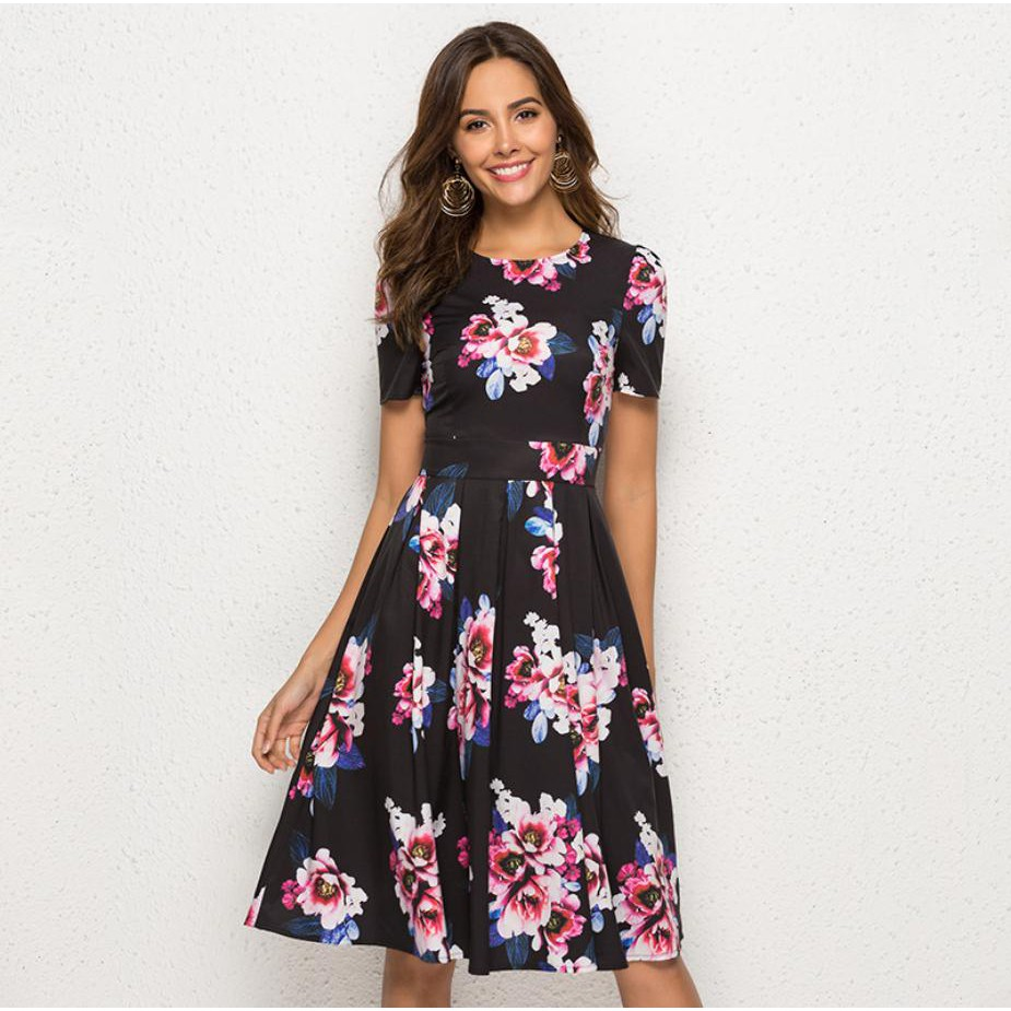 f271018c4e5df AEILMMEE Femme Summer Short Sleeve Casual Dress Women O Neck Floral Printed  Vintage A Line Dress Elegant Party Dress