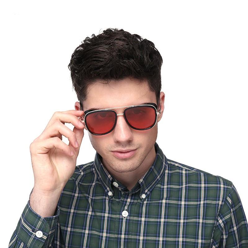 41b71c91e ProductImage. ProductImage. Tony Stark Iron Man Sunglasses Men Steampunk  Glasses Coating Retro Brand Design