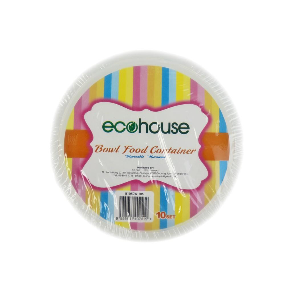 [ 10pcs / set ] Ecohouse Microwaveable Bowl 1050ml