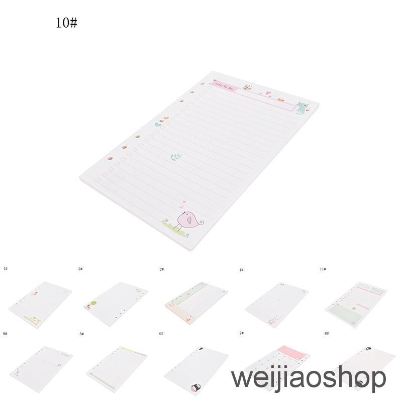 10x A5//A6 Planner Diary Insert Refill Notebook Files Organiser Binder Pocket