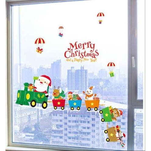 พร้อมส่ง!สติ๊กเกอร์คริสมาส Christmas wall sticker สติ๊กเกอร์ติดติดกระจก สติ๊กเกอร์ติดผนังลายคริศมาส มีกาวในตัว ล