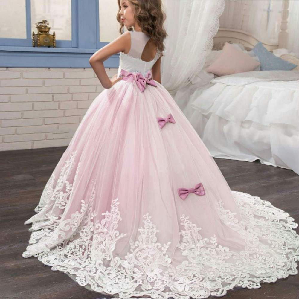 Sleeveless Princess Girls Dress Butterfly Prom Gown Wedding Party Kids Clothes