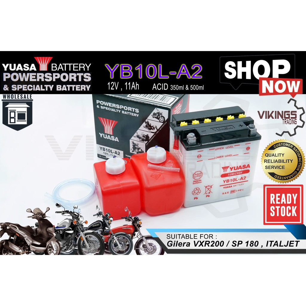YB10 YB10L YB10L-A2 FREE ACID VIKINGS 100% ORIGINAL AUTHENTIC JAPAN YUASA BATTERY GILERA ITALJET KAWASAKI SUZUKI YAMAHA