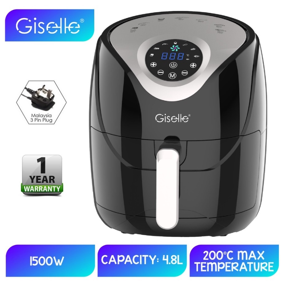 Giselle 4.8L Digital Air Fryer with Touch Control Timer Temperature Control 1500W - Black KEA0202