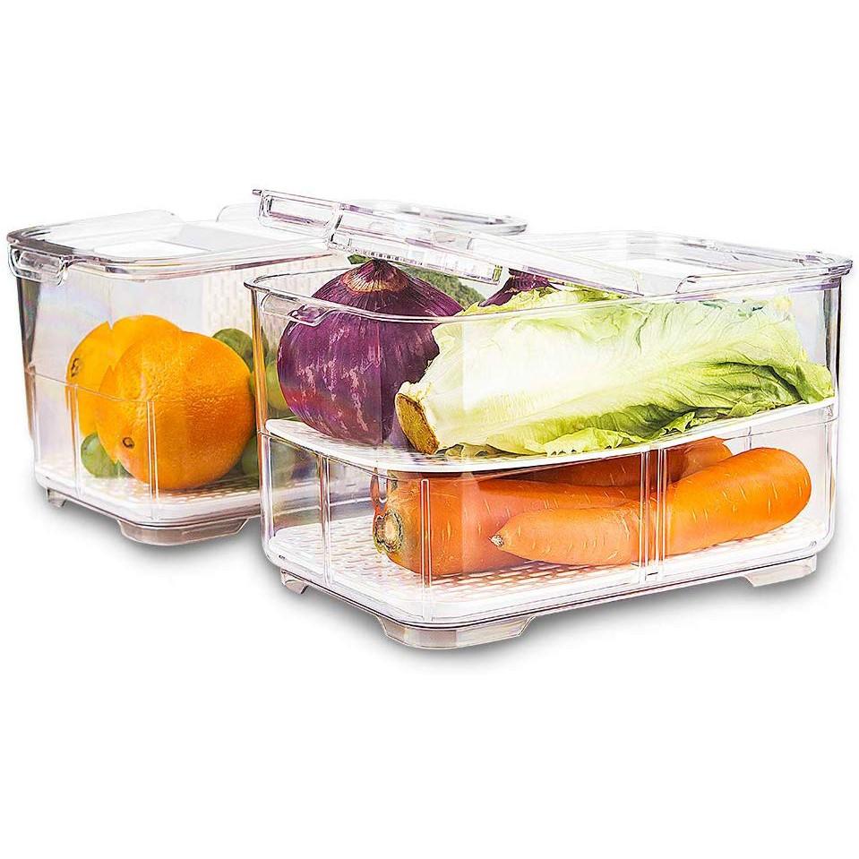 2 Fridge Shelf Storage Trays Vented Organiser Freezer Container Box Caddy Fresh