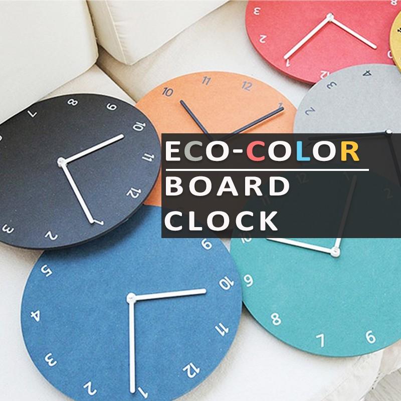 26cm Rainbow Eco-Color Board Wall Clock Jam Dinding Pelbagai Warna dan Berkualiti