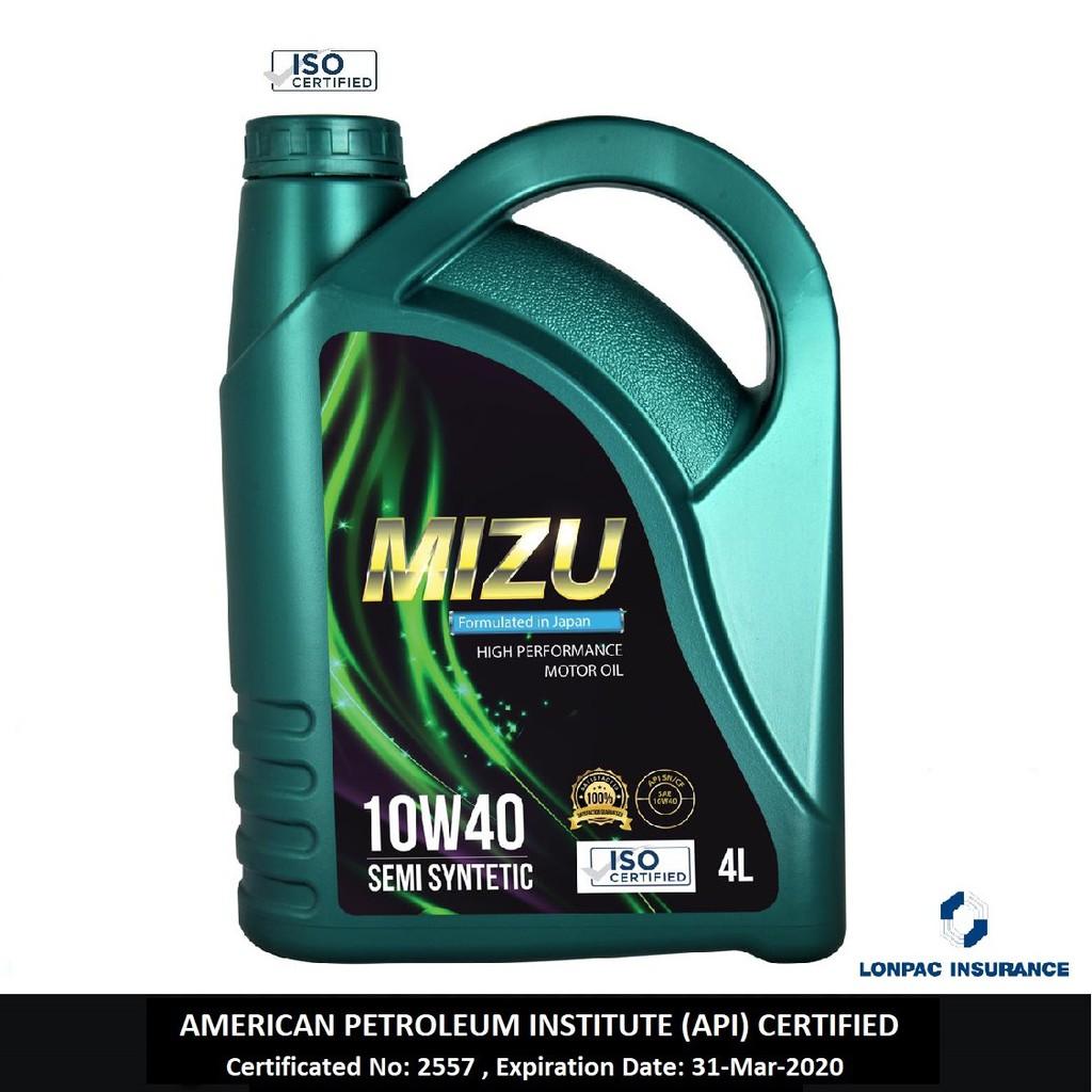 Mizu 10W-40 Semi Synthetic Engine Oil (4L) [Free Sticker]