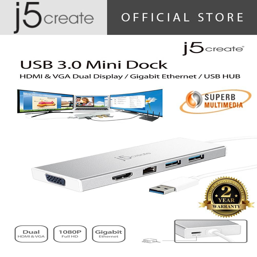 J5 Create JUD380 USB 3 0 MINI DOCK (HDMI/VGA Dual Display/Gigabit Ethernet)