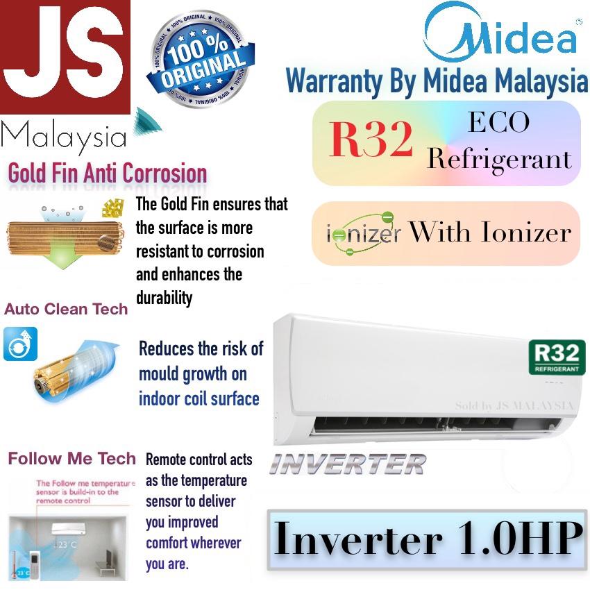 Midea Air Conditioner 1HP inverter auto clean aircond 5 years compressor warranty MSAF-10CRDN8 [Gold Fin anti corrosion]