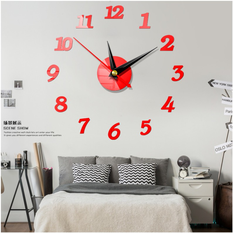 Wall Clock Home Diy3d Decorative Wall Clock Acrylic Digital Mirror Wall Sticker Shopee Malaysia