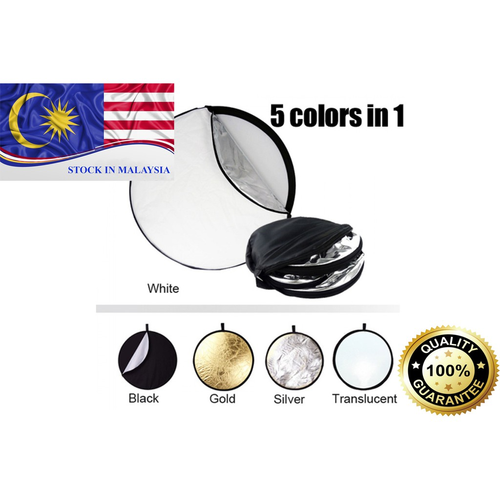 5-IN-1 STUDIO PHOTOGRAPHY REFLECTOR 110CM (Ready Stock In Malaysia)