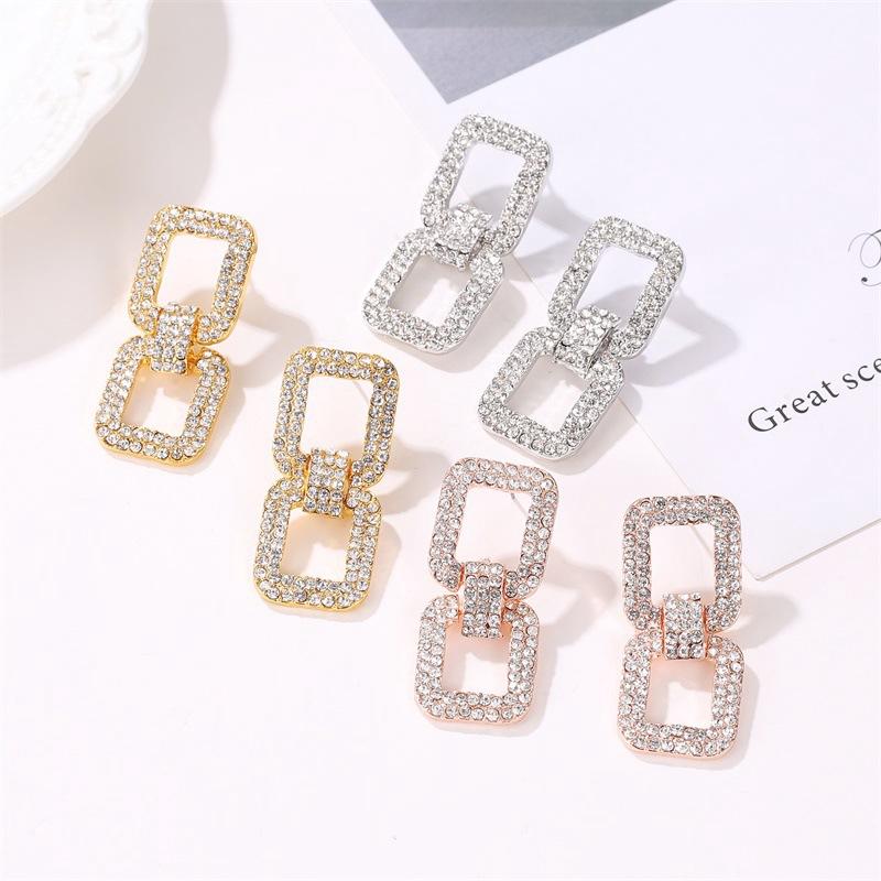 Earring Women Korean Geometric Exaggerated Temperament Simple Long Earrings  Square Personality Full Diamond Earrings