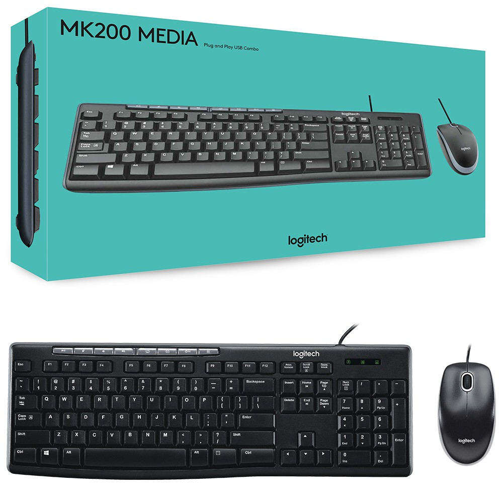 Logitech Wired Keyboard With Mouse Combo Media Mk200 | Shopee Malaysia