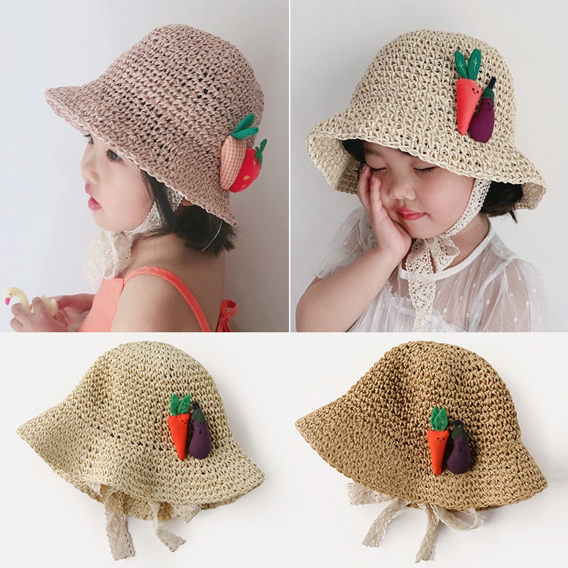 884edd662 Summer Baby Hat Children Sunscreen Straw Hat Girl Fisherman Hat Lace  Princess Visor Carrot Strawberry Decoration Cap