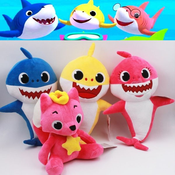 3pcs Cartoon PinkFong Plush Fox Sharks Dolls Children Baby Animal Kids Toys Gift
