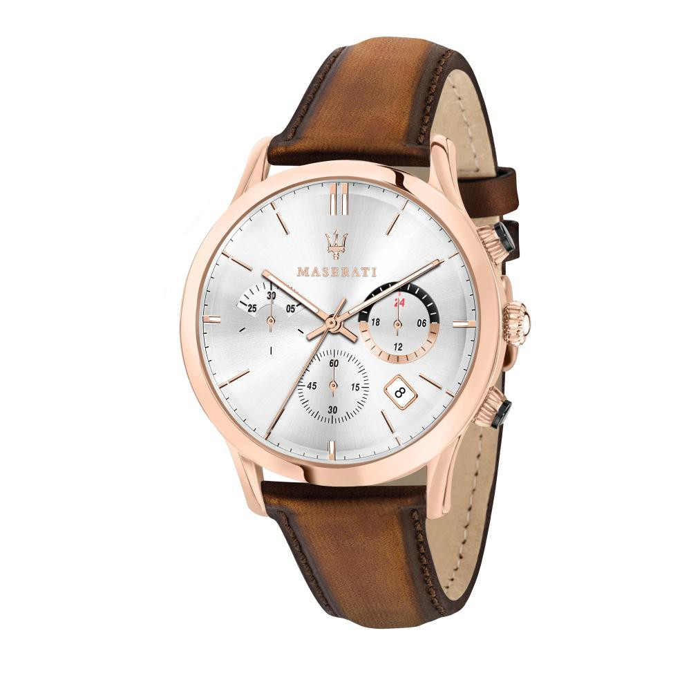 Maserati Ricordo Brown Leather Quartz Chronograph Watches R8871633002