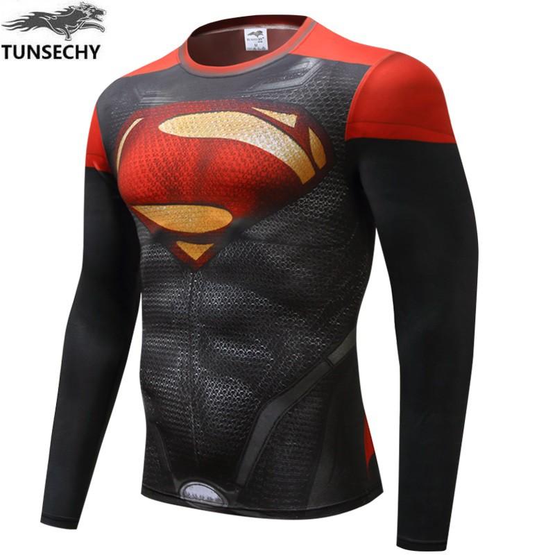 New Fitness Compression Shirt Men Superman Superhero Avengers Sports Casual Wear