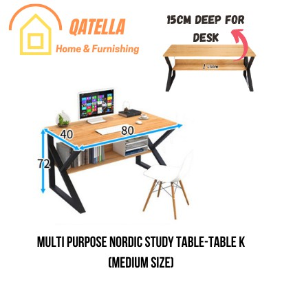 Qatella THE Study Writing Desk Computer Desk PC Laptop Table Workstation Study Home Office With Storage Office Table K