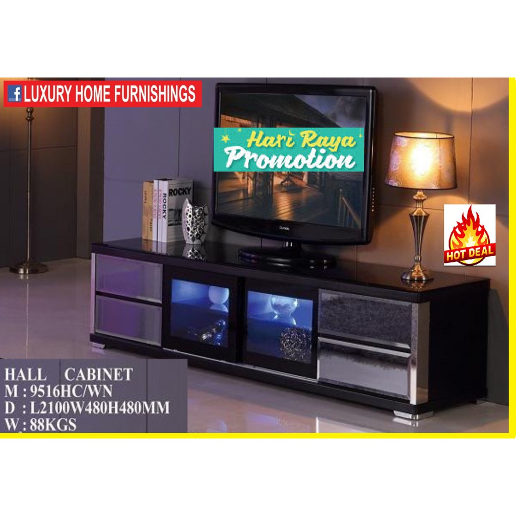 7ft High Gloss & Term-pared GLASS TOP Modern TV CABINET, Dark Brown COLOR, IMPORTED Series!! RM 2,249!! 35% Off!