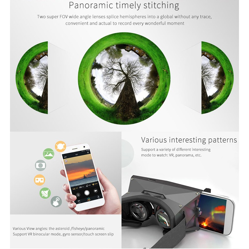 GOQ PANO 360 VR Camera Panoramic Dual Lens Cam for Android Phone