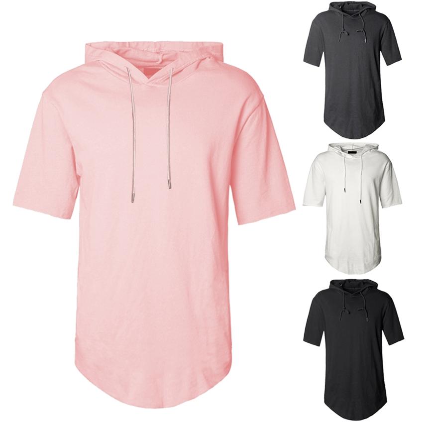 Men/'s Short Sleeves Hoodies Hip Hop Solid Streetwear Summer Swag Hem Side Zipper