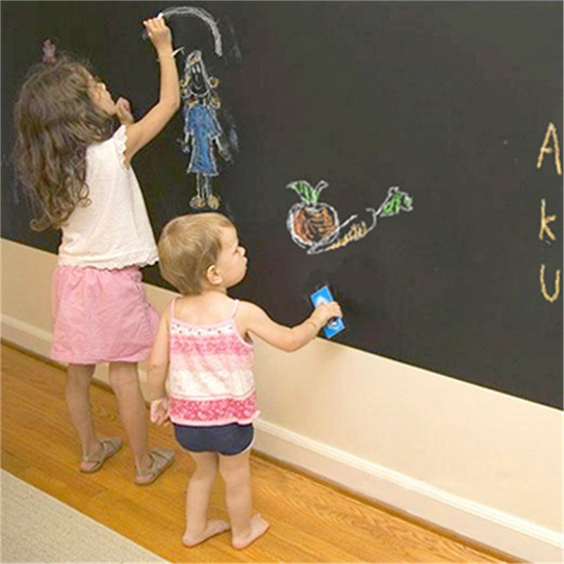 Presentation Boards 45x200cm Blackboard Chalk Board Sticker Removable Vinyl Draw Decor Mural Decals Art Chalkboard For Kids With 5 Free Chalks Excellent In Cushion Effect