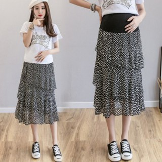 ba33edd7f356f Floral cake skirt chiffon stomach lift skirt pregnant women skirt women