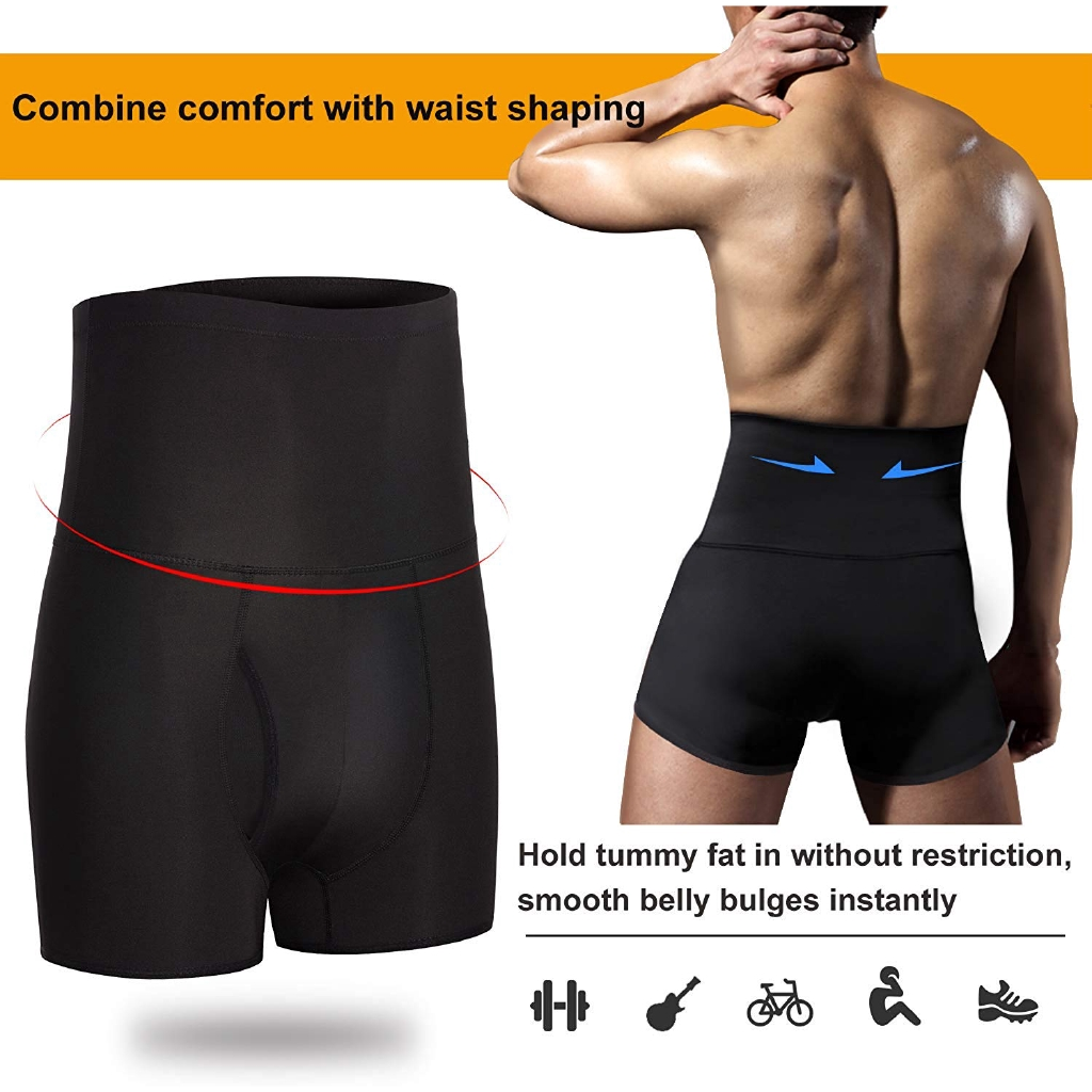 MenS Firm Control Shorts High Waist Boxer Slim Body Shaper Seamless Belly Girdle