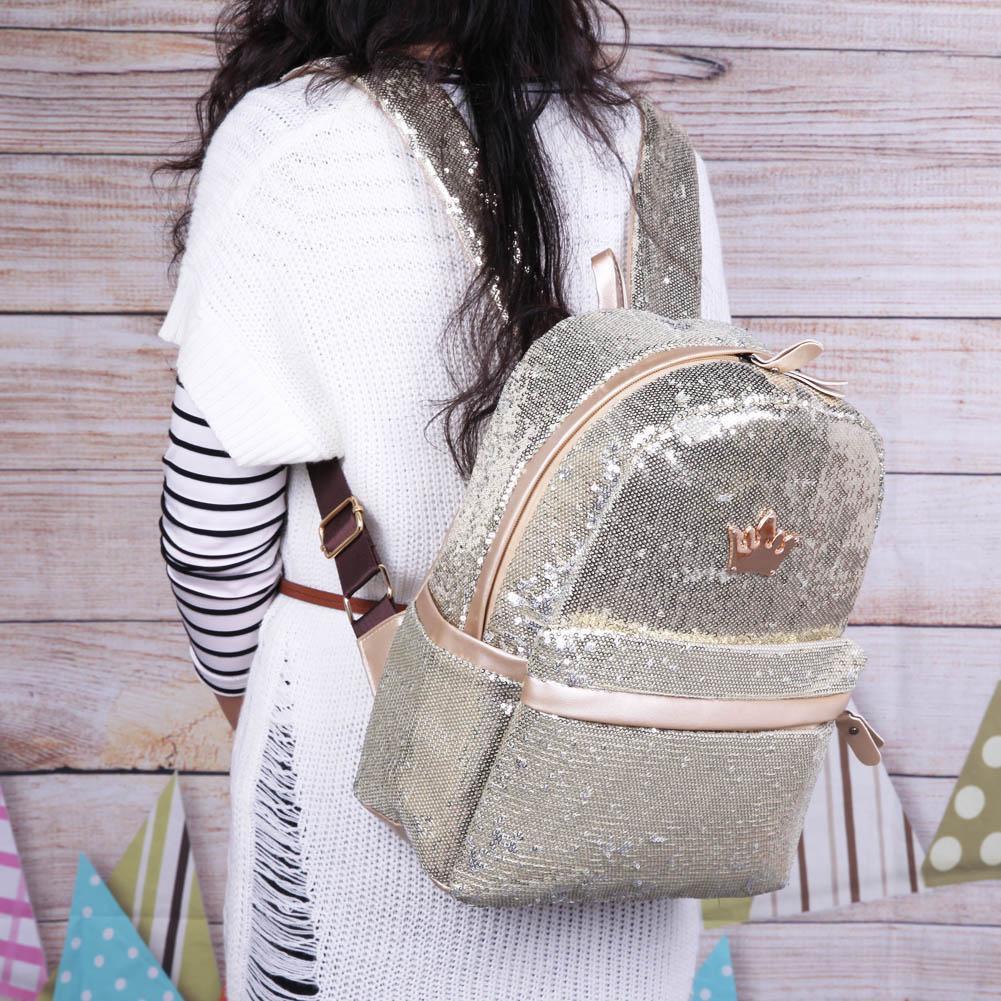 c61528cb3650 Shining Sequins Women Backpack Teenage Girls Travel Casual Small School Bag