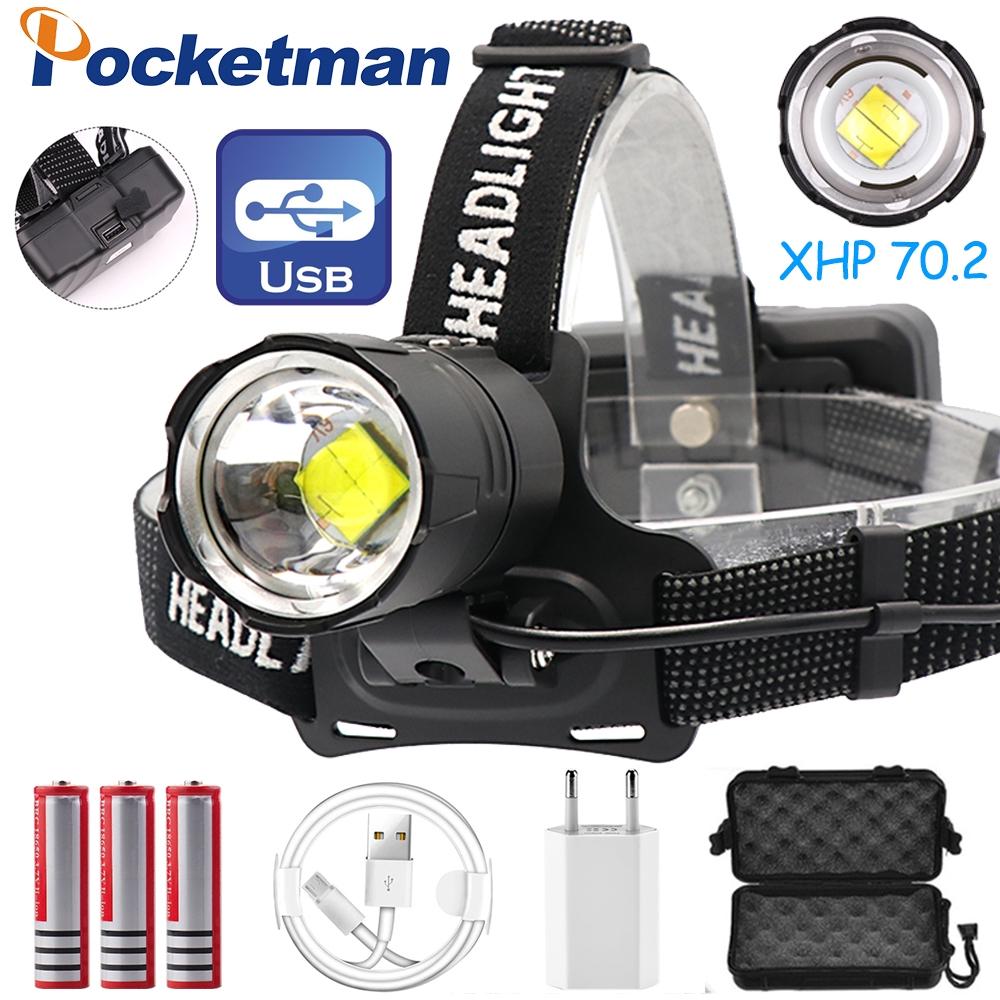 Zoom 20000LM LED USB Headlight Headlamp Head Torch Fishing Camping Light 4 Modes