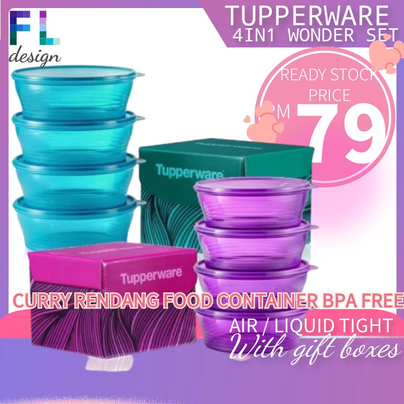 Tupperware Curry Serve Fried Noodles Food Container Fruit Container Kuih Muih  Big Wonders Set (4) 1.4L Free Gift Box