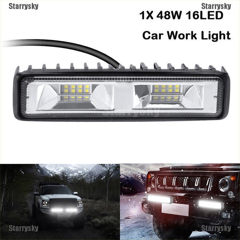 48W 16 LED Work Light Flood Beam Bar Car SUV OffRoad Driving Fog Lamps Kit