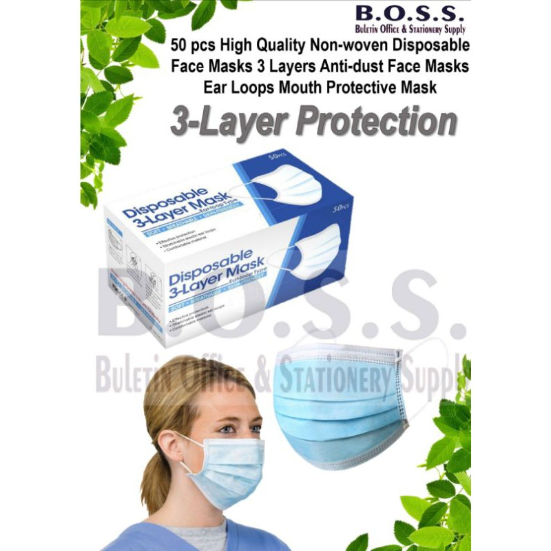 [Ready Stock] 50pcs 3 Ply Ear Loop Facemask